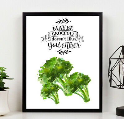 Country Kitchen PRINT Broccoli Green Watercolour Picture POSTER A4 Wall Art 1 • 3.99£