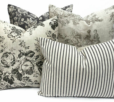 Cabbages And Roses Fabric French Toile Linen Floral Black Cushion Pillow Cover • 35.99£