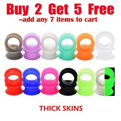 $4.99 • Buy Pair-of-Thick-Ear Gauges Plugs-Soft Silicone Ear Flesh Tunnels-Ear Stretchers