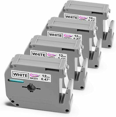 $8.69 • Buy 4 PK M-K231 MK-231 12mm Label Tape Compatible Brother P-touch PT-65 PT-85 1/2''.