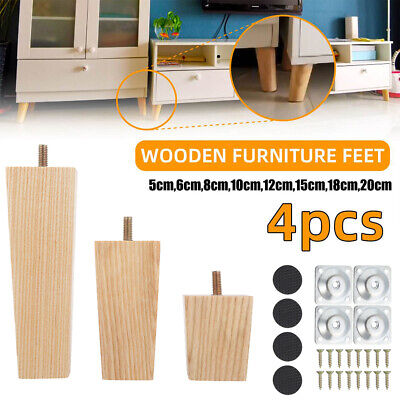 AU35.77 • Buy 4 X Wooden Furniture Legs + Pads Turned Feet Lounge Couch Sofa Cabinet Raw AU