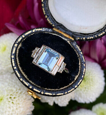 Art Deco Aquamarine And Diamond Platinum Ring 0.35ct + 1.20ct • 1,395£