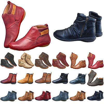 Women Ladies Zipper Ankle Boots Flat Comfy Arch Support Soft Soled Shoes Booties • 15.59£