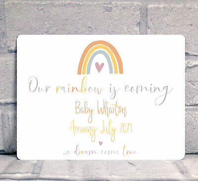 Rainbow Baby Pregnancy Announcement - A5 20cm X 15cm Metal Sign - Personalised  • 6.95£