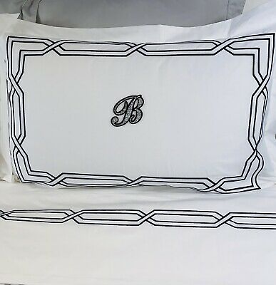 £24.99 • Buy Monogrammed Pillowcases Personalised Pillow White Cotton Navy Embroidered