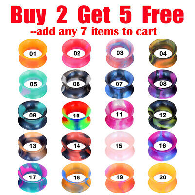 $4.99 • Buy Pair Thin Pearlescent Silicone Flesh Tunnels Double Flared Ear Gauges Piercings