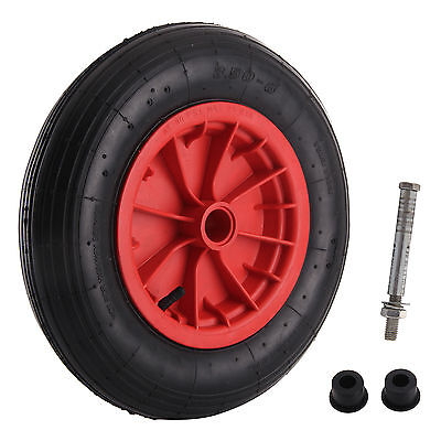 Replacement 14  Pneumatic Wheelbarrow Wheel Inflatable Tyre 3.50/4.00-8 + Axle • 9.99£