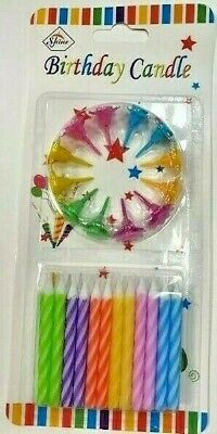 £1.75 • Buy 24 Pcs Small Birthday Cake Candles + 12 Holders - Pink | Blue - UK Seller