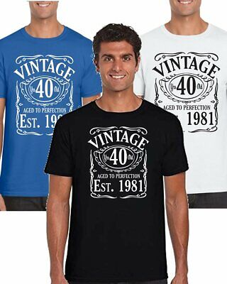 40th Birthday T Shirt Men Vintage Since 1981 Funny Printed Cotton Gifts For Men • 9.99£
