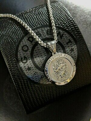 AU74.72 • Buy Mens Personalised Valentines Day Gift Large Silver Steel St Christopher Necklace