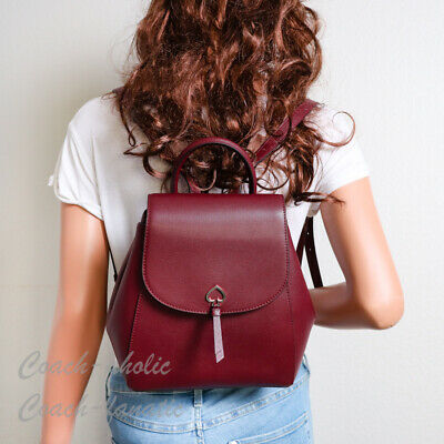 $ CDN140.29 • Buy NWT Kate Spade Adel Medium Flap Backpack In Cherrywood Leather WKRU6412