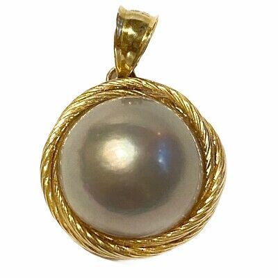 $488.88 • Buy 14K Yellow Gold Mabe Blister Pearl Pendant See Pictures 4.5 Grams