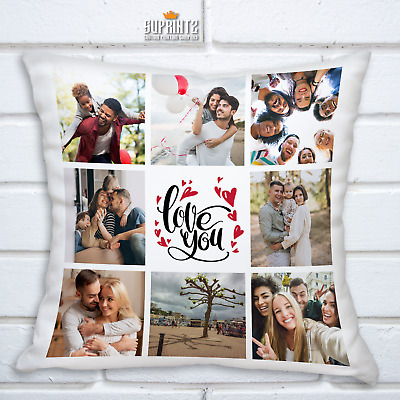 Personalised Photo Valentines Cushion Pillow Case Cover Custom Gift Collage 8Pic • 9.99£