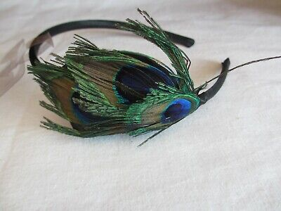 Peacock Feather Fascinator Feathers Head Band For Special Occasion NEW • 6.99£
