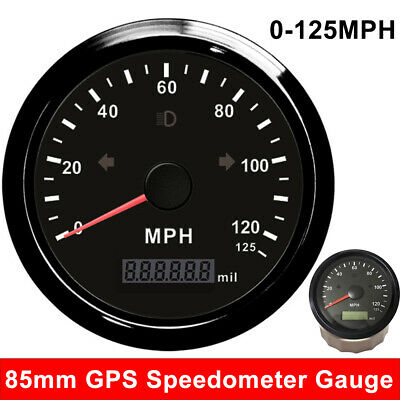 $45.96 • Buy 85mm GPS Speedometer 0-125MPH Gauge For Car Boat Marine With Indication Light