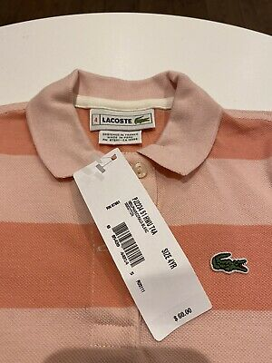 LaCoste Girls Peach And Pink Striped Polo Shirt - Size 4 - New With Tags • 17.50£