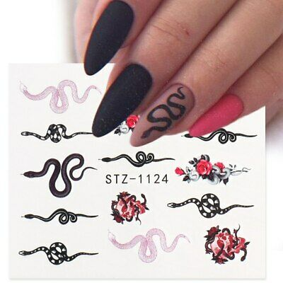 £1.65 • Buy Nail Art Water Decals Transfers Snake Goth Gothic Zodiac Snakes Roses Rose 11124