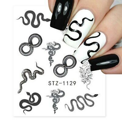 £1.65 • Buy Nail Art Water Decals Transfers Black Snake Goth Gothic Roses Rose Snakes (1129)