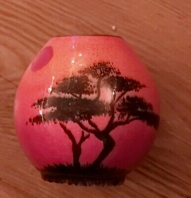Poole Pottery Vase Red African Skys Mini Purse Vase 10 Cms • 34.99£