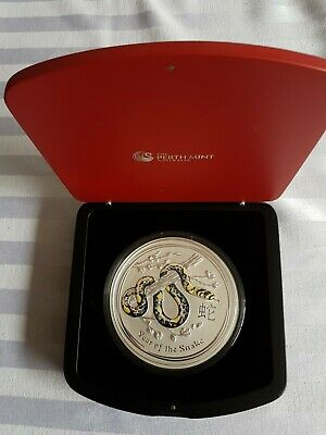 AU2250 • Buy Perth Mint Lunar Snake Silver Series 11 Coin 2013, 1 Kg Gemstone Edit...As New