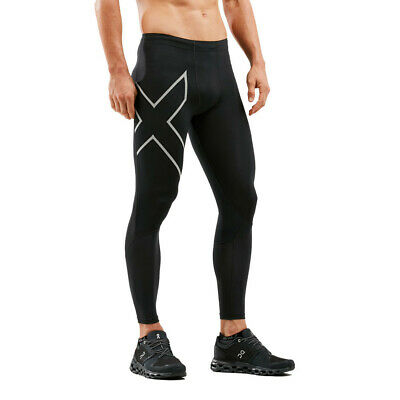 2XU Mens Run Dash Compression Tights Bottoms Pants Trousers Black Sports Running • 67.99£