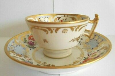 Antique  Early 19th Century Ridgway Blue Floral Cup And Saucer • 20£