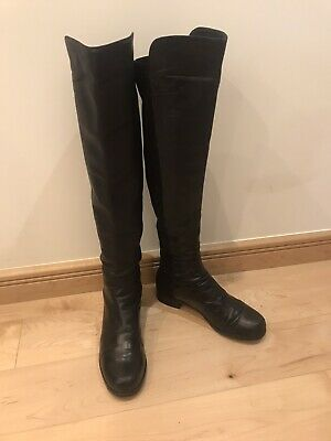 Stuart Weitzman Russel & Bromley 50/50 Black Over Knee Boots US 8.5 EU 39 • 79.99£