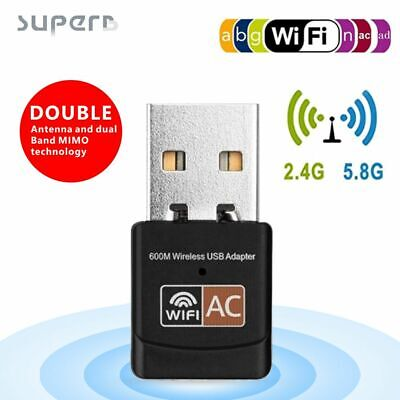 AU9.99 • Buy 2.4+5GHz Wireless Network Signal Receiver Portable 600M USB WiFi Adapter Dongle