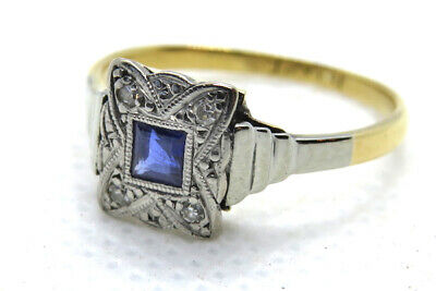 18ct Yellow Gold & Platinum Art Deco Sapphire & Diamond Ring SIZE L • 325£