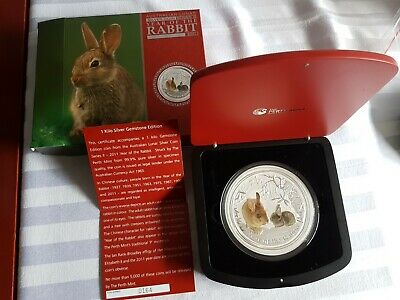 AU2250 • Buy 2011 1KG Silver Gemstone Edition Coin Year Of The Rabbit Aust. Lunar Series 11