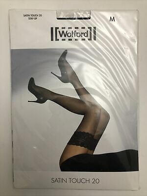 WOLFORD SATIN TOUCH 20 HOLD STAY UPS Black Lace Top Size Medium BNIP • 18£