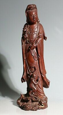 A Fine Chinese Boxwood Wood Carving Of Guanyin 19/20thC • 7.50£