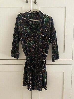 Lovely Topshop Boutique Blue Floral Print 100% Silk Style Shirt Dress Uk 14 £95 • 30£