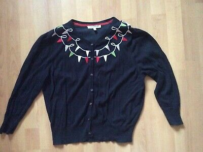 Laura Ashley Black Cardigan Bunting Embroider Deco 100% Cotton Uk 18 Eu 44 Us 14 • 12£