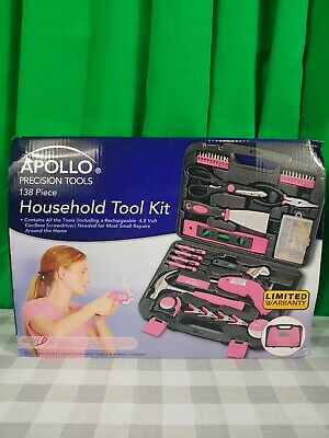 Women 135 Piece Household Tool Case Set Ladies Box Kit Home Repair Tools Pink  • 34.33£