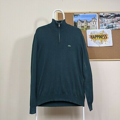 Lacoste 1/4 Zip Sweater In Green   Size Large • 14.99£