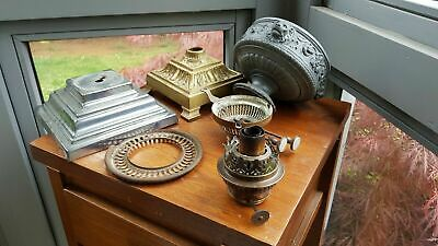 Original Victorian Brass Oil Lamp Base Parts Shade Carrier Burners Chrome Spare  • 45£