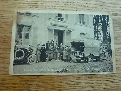 Ww1 Rare Original Photo Postcard Red Cross Relief Station Ambulance & Lady Worke • 7.99£