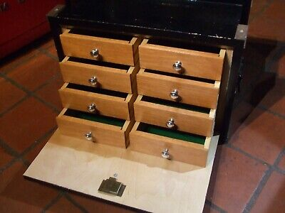 VINTAGE TOOL CHEST/ COLLECTORS BOX GREAT QUALITY Very Clean, 8 Drawers Lock/keys • 149.50£