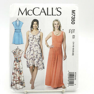 McCalls 7350 Misses Plus Size Dresses High Low Hem Maxi Sz 14 22 Uncut Pattern • 7.23£