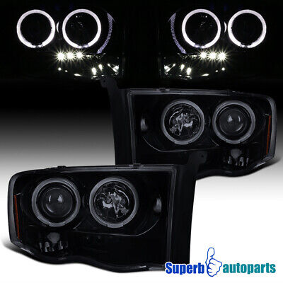 $126.98 • Buy For 2002-2005 Ram 1500 2500 Smoke LED Halo Projector Headlights Glossy Black