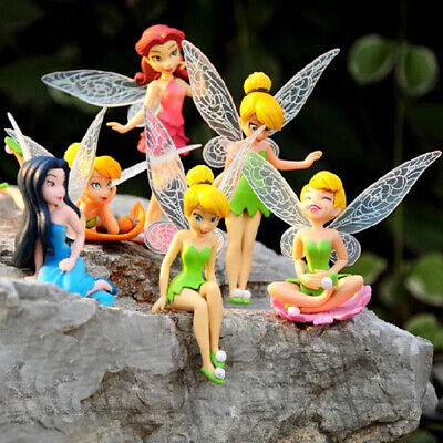 6x Tinkerbell Fairies Princess Action Figures PVC Doll Toys Children Girl Gifts • 7.12£