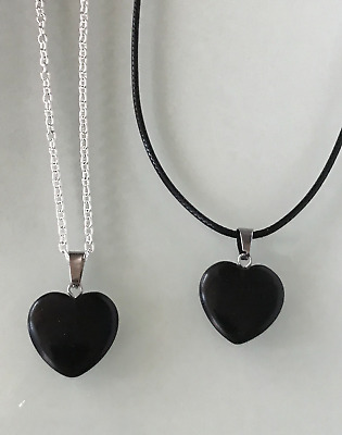 Protection Anxiety Black Obsidian Heart Pendant Cord/Silver Chain Necklace    • 3.99£