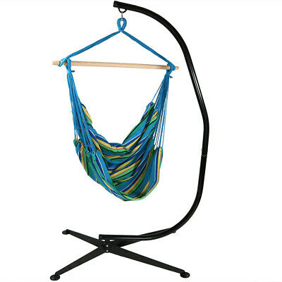 Sunnydaze Extra Large Hanging Hammock Chair Swing With C-Stand - Ocean Breeze • 121.49£