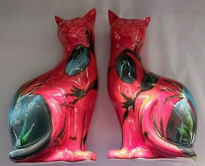 £329.99 • Buy New Large 11inch Pair  Studio Poole Cats Himalayan Poppy Pattern  Ltd 10 Sets