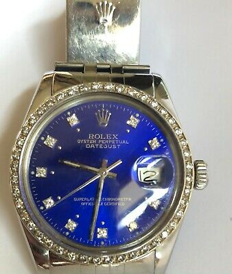 AU6000 • Buy Mens Rolex Stainless Steel Datejust 1604 Blue Diamond Dial And Bezel
