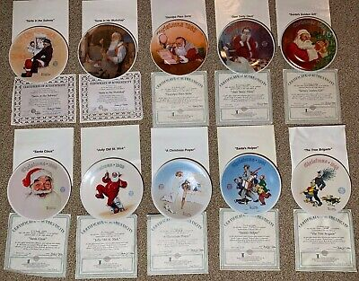 $ CDN102.57 • Buy Knowles Norman Rockwell Santa Christmas Collector Plates Lot Of 10 Plates 83-91+