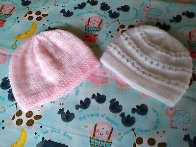 Two Baby Hats. Newborn [7-9 Pounds] Pink And White. Hand Knitted. New. • 1.60£