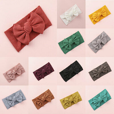 AU3.29 • Buy Children Hair Accessories Baby Girls Head Wrap Solid Color Bow Knotted Headband