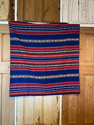 Vintage Mexican Blanket Poncho Rug Throw Made In Mexico Handcraft Ethnic Hippy • 25£